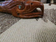 Large Native Pipe Hand Carved Wood 18'' Long Eagle Effigy