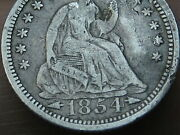 1854 P Seated Liberty Half Dime- Philadelphia, With Arrows, Vf Details