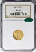 1914-d Indian Head Quarter Eagle 2.5 Gold Ngc Ms62 Cac