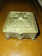 Antique 1900 Ornate Postage Stamp Box Brass Bronze 2.5 X 2.5 Missing Top Finial