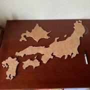 Map Of Japan Wooden Handmade Puzzles Educational Toy Beige Extra-large Used