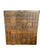 Library Card Catalog Cabinet - 60 Drawers, Vintage, Solid Wood