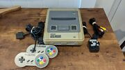 Super Nintendo Console Snes Pal- Two Controllers And Cables - Tested