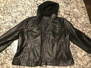 Lucky Brand Faux Black Leather Moto Hooded Jacket Size Xxl Mint Condition