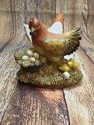New Chalkware Ceramic Hens Chickens Rooster Laying Eggs Napkin Holder Country