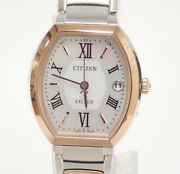 Citizen Exceed Es8144-59a Solar Radio Super Titanium Pink Used From Japan Y1027