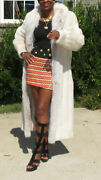 Mint Lord And Taylor Full Length Rose White Blush Mink And Fox Fur Coat S-m 4-10