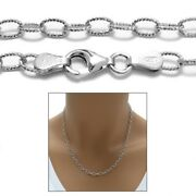 925 Sterling Silver Rhodium Dia-cut Rolo Chain Necklace 3mm 080 Gauge