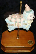 Porcelain Carousel Collection 2nd Edition Lamb Music Box Plays Its A Small World