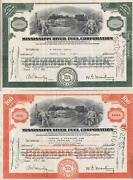Usa Mississippi River Fuel Stock Certificate Set Of 2