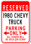 Custom 1980 80 Chevy Truck Parking Sign Personalized Garage Aluminum Wall Plaque