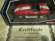 118 Kyosho Red And White Shelby 427 Cobra Signed Autographed Shelby