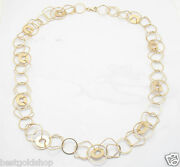 24 20.6gr Geometric Link Chain Necklace W/ Lobster Clasp Real 14k Yellow Gold