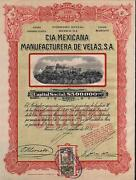 Mexico Candle Manufacturing Company Bond Stock Certificate 1921 W/coupons