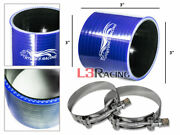 Blue 3 76mm 3-ply Silicone Coupler Hose Turbo Intake Intercooler + Clamps Dodge