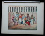 1886 Original Antique Print Japanese Children At Play Girl With Baby Of Japan 12