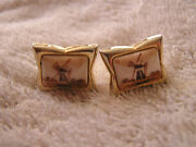 Vintage Swank Fo Cufflinks With Windmill Hand Painted