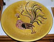 """RARE VINTAGE 14"""" CALIFORNIA POTTERY ROOSTER BOWL #1065"""