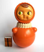 1950s Vintage Ussr Russian Soviet Celluloid Sound Toy Doll Cork-tumbler