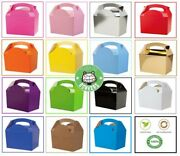 60 X Childrens/kids Plain Coloured Carry Food Meal Birthday Party Loot Bag Boxes