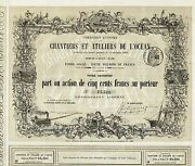 France Buildings And Workshops Of Land039ocean Stock Certificate 1863 With Coupons