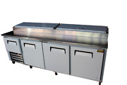 96 New Us-made Three And Half Door Refrigerated Pizza Salad Prep Table S.s Top