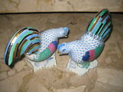 Authentic Herend - Figurine Rooster In Blue Fishnet ----- 5015