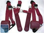 78-87 Chevy El Camino Retractable Oe Style Bench Seat Belts W/ Center Maroon