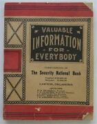 Lawton Oklahoma Security National Bank 1919 Booklet Valuable Info For Everybody