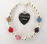 Mixed Colour Crystal Ladies Girls Friends Engraved Personalised Bracelet In Box