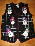 Winning Ugly Tacky Christmas Plaid Frosty The Snowman Sweater Vest Size Small