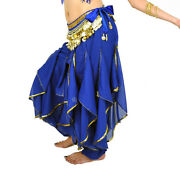 Belly Dance Bloomers Chiffon Costume Wavy Pants Andhip Scarf Skirt Belt Gold Coins