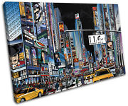 Nyc Illustrated City Single Canvas Wall Art Picture Print Va