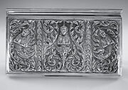 Antique Sterling Silver Repousse Lg Jewelry Box Siam Thai Goddesses 402 Grams