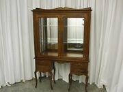 Antique Southern Style Inlay China Curio Cabinet W Mirrored Back And Glass Shelves