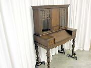 Antique Ladies Slant Top Writing Desk And Bookcase W Glass Doors Traditional Style