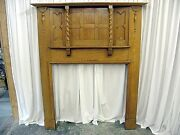Large Antique Oak Fireplace Mantel With Mix Of Arts And Crafts Modern