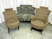Antique Settee Rocker And Chair Hollywood Regency Style New Upholstery Xtra Nice