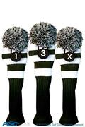 1 3 X Classic Green White Knit Pom Golf Club Headcover Vintage Head Covers Set