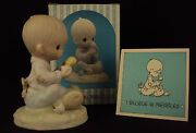 Precious Moments Figurine, E-7156, I Believe In Miracles, Hourglass Mark, 1981