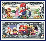 1-super Mario Brothers Dollar Bill Nintendo Game- W/clear Protector Sleeve- S
