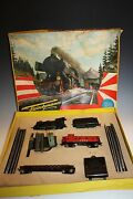 1960and039s Fleischmann Mini Train Set Steam Locomotive And Cars Ho Scale Model 1305