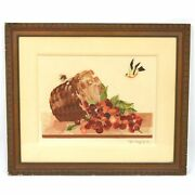 Exceptional Antique Still Life Silk Embroidery Framed Wall Art