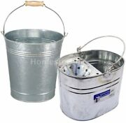 Mop / Pail Water Bucket Metal Galvanised Large Plant Pot Cleaning Garden Handled