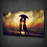 Couple Kissing Under Umbrella Sunset Canvas Print Picture Ready To Hang