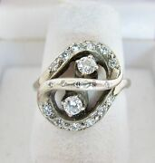 Antique 14k White Gold Ring With 19 Diamonds .60 Carats 5.4 Grams Size 6.5