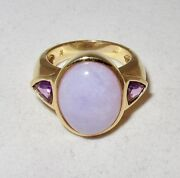 14k Gold Ring With A Grade Lavender Jadeite Jade And 2 Amethyst 10g Size 6.75