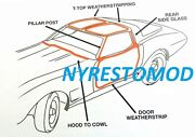 73-77 Corvette Weatherstrip Rubber Doors T-tops Kit Made In The Usa