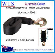 2 X 7.5m Boat Winch Strap W Hook And Safety Latchloop End5000lbs Load-45209