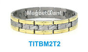 Gold And Silver - High Power Mens Magnetic Titanium Bracelet 5000 Gauss Magnets